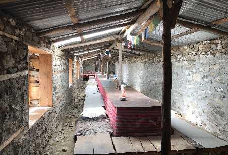Intérieur de l'unique Lodge de Darmashala
